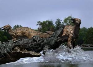 Deinozuch (Deinosuchus) i Albertozaur (Albertosaurus).